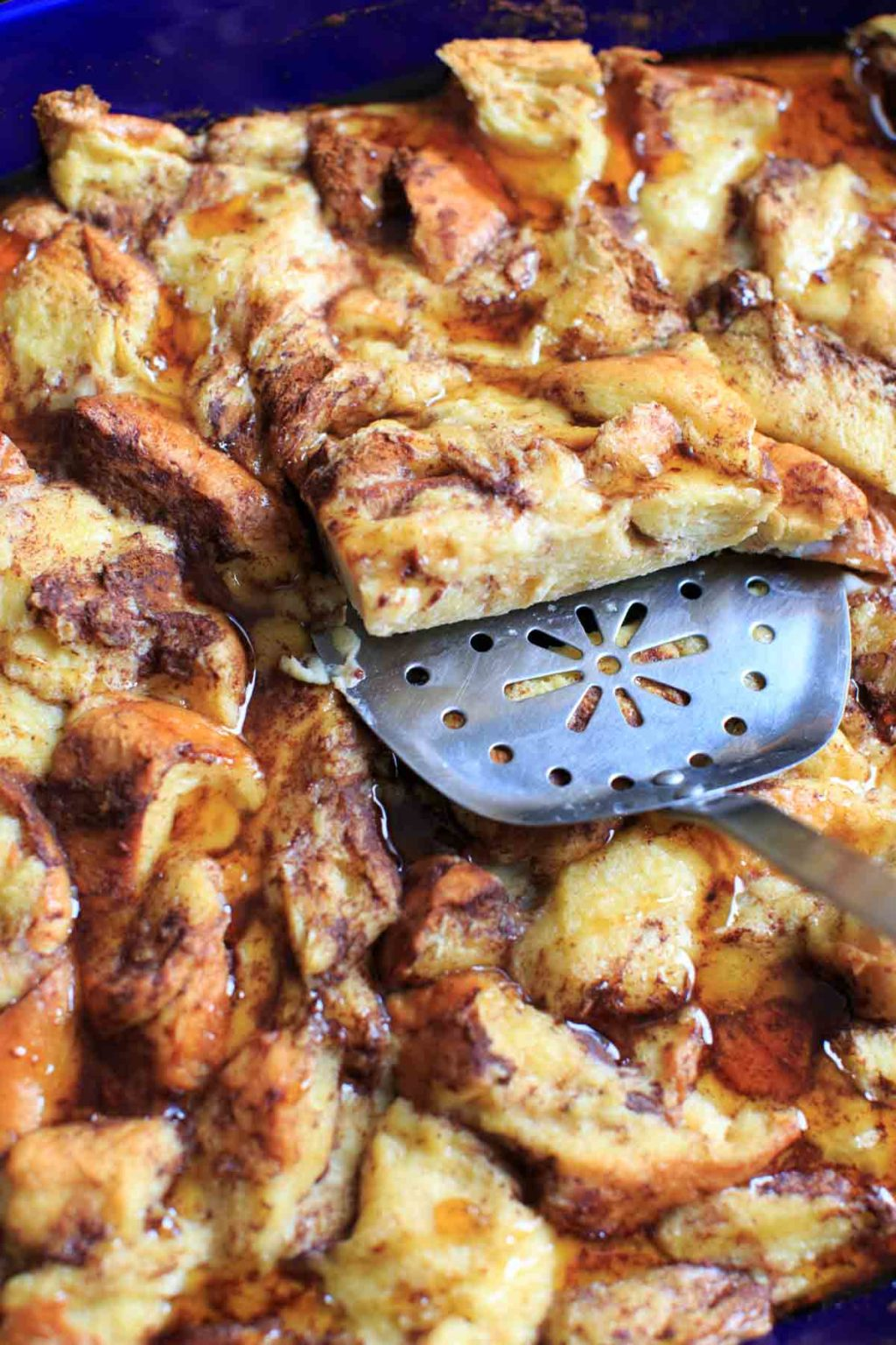 Overnight French Toast Casserole with cinnamon, vanilla and a secret ingredient. As healthy as french toast can be while still being an easy and delicious breakfast to feed a crowd.