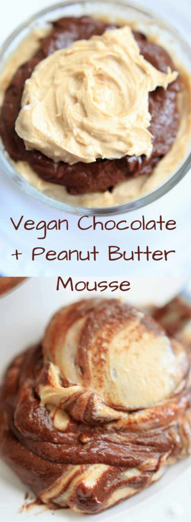 Vegan Chocolate Peanut Butter Mousse. A sweet and healthy dessert that uses avocado instead of cream.