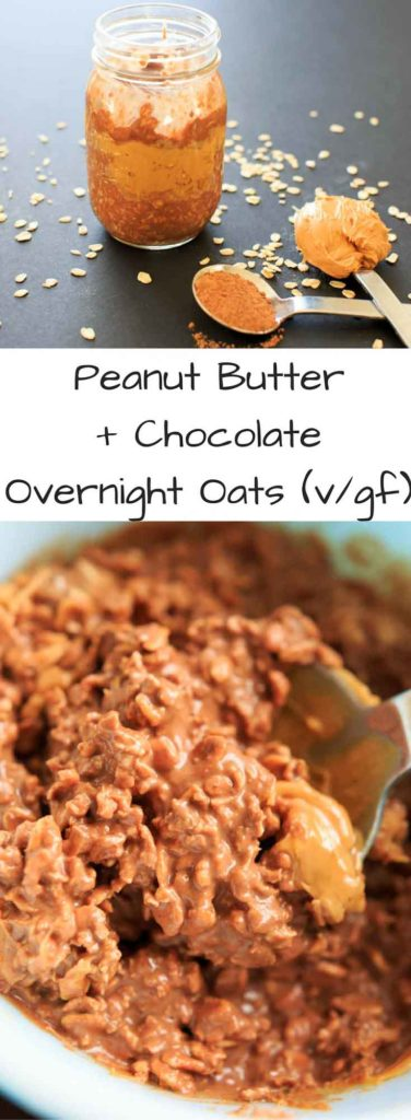 Peanut Butter Chocolate Overnight Oats - a vegan, gluten-free, healthy breakfast that will feel more like dessert than breakfast. Sweetened with maple syrup, no added sugar. Made in partnership with @Silk #ad