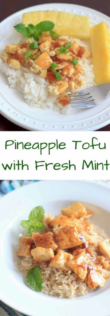 Pineapple Tofu - a vegan & gluten-free meal ready in 15 minutes with a tropical twist of pineapple and mint leaves.