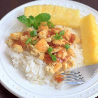 Pineapple Tofu with Fresh Mint