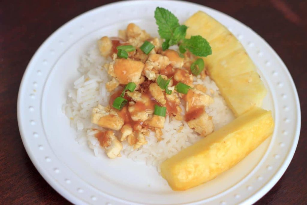 Pineapple Tofu - a vegan & gluten-free meal ready in 15 minutes with a tropical twist of pineapple and mint.