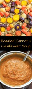 Roasted Carrot and Cauliflower Soup. Healthy, gluten-free, and leave off the optional parmesan to keep it vegan. 5 main ingredients.