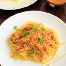 Spaghetti Squash Noodles with Spicy Peanut Sauce