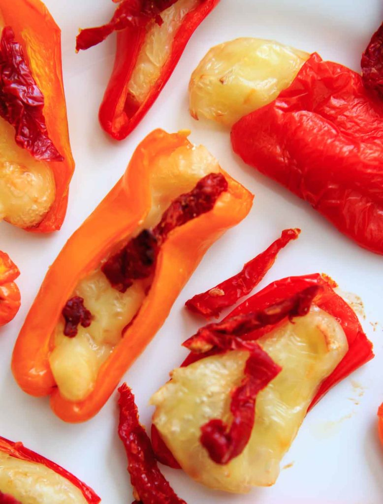 Mini Sweet Pepper Bites with Brie and Sun Dried Tomatoes. A quick vegetarian appetizer or finger food with only 3 ingredients.