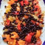 Black Bean Enchilada Casserole with Roasted Corn and Bell Peppers. Vegetarian dinner full of veggies and homemade goodness.