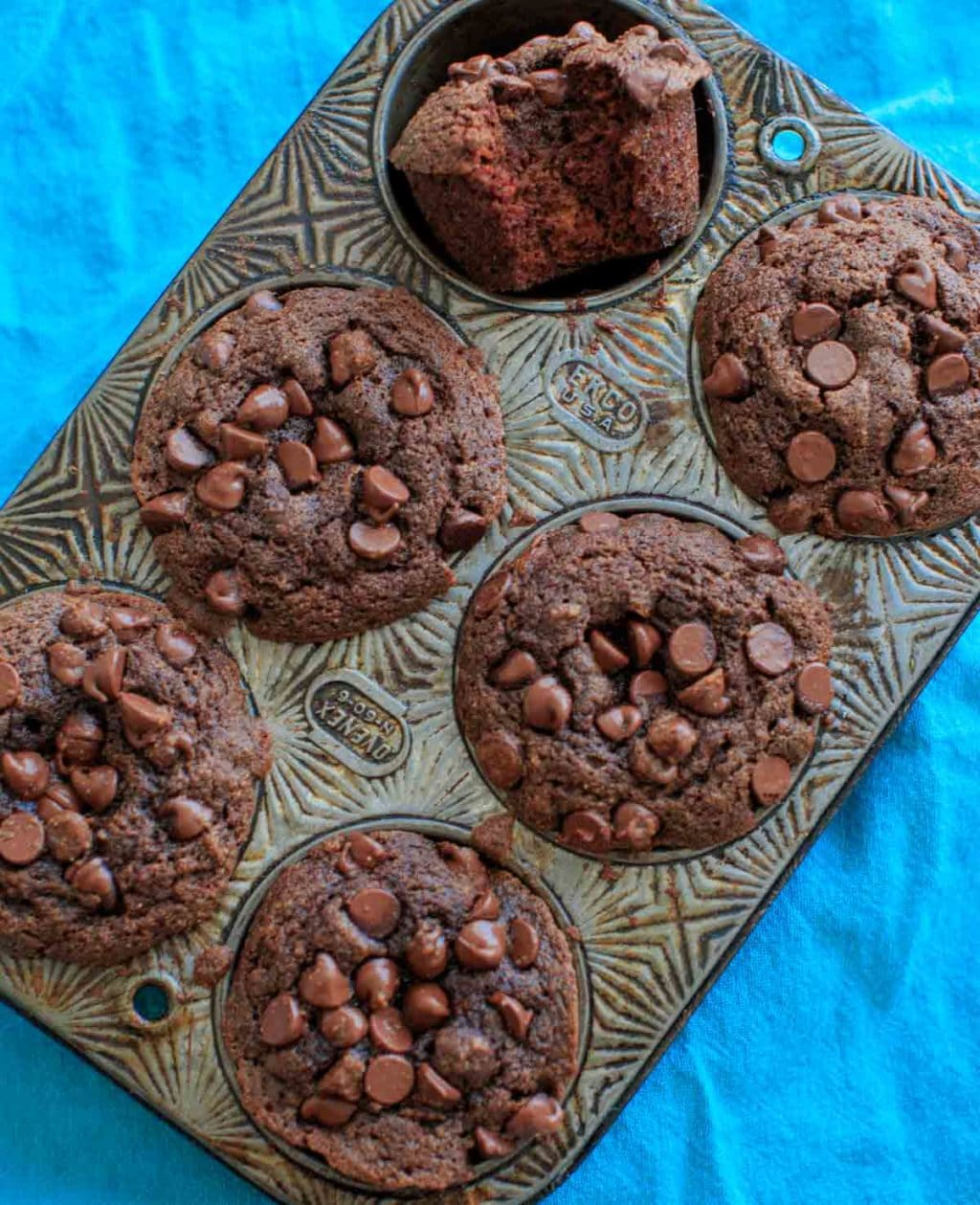 Double Chocolate Coconut Flour Muffins - naturally sweetened with no added sugar, and are a paleo friendly snack.