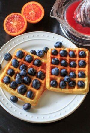 Blueberry and Blood Orange Belgian Lentil Waffles