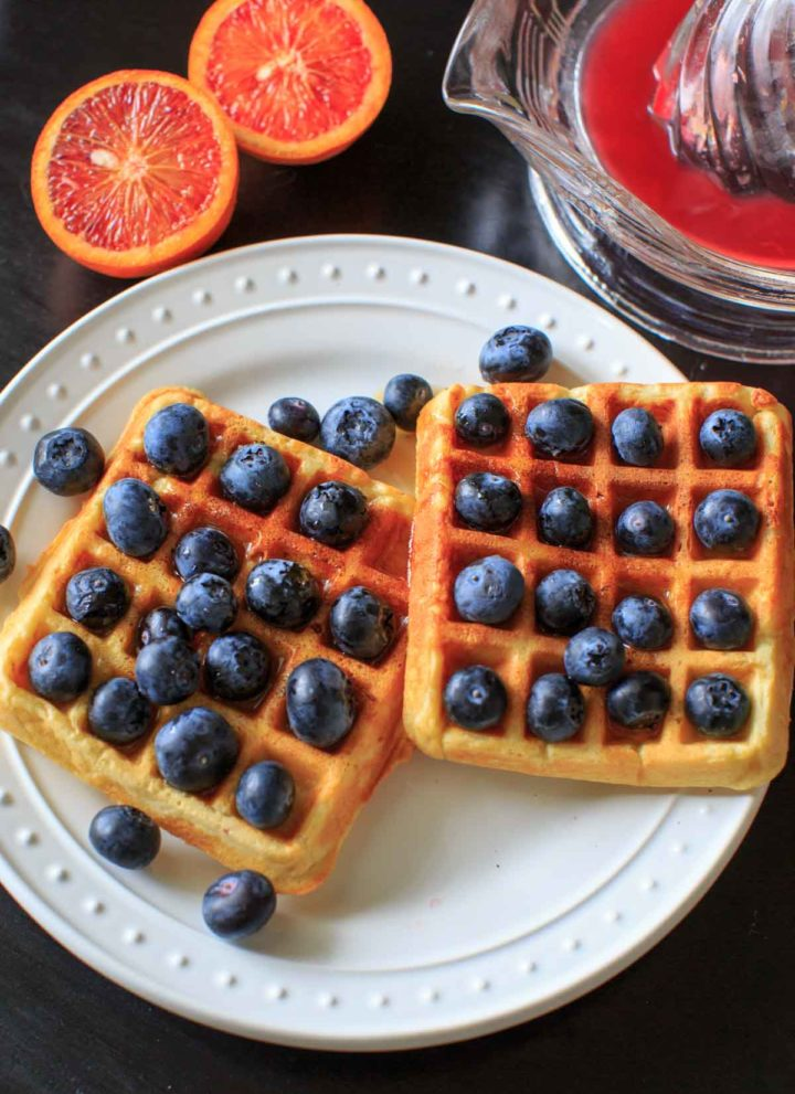 Blueberry and Blood Orange Belgian Lentil Waffles