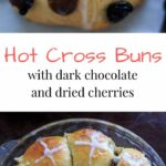 Hot Cross Buns with the options for added dark chocolate pieces and raisins and/or dried cherries. Traditionally served on Good Friday, these s spiced rolls will be a hit at your holiday gathering!