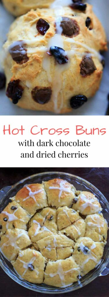Hot Cross Buns with added dark chocolate pieces, dried cherries, and/or raisins. Traditionally eaten on Good Friday before Easter, these spiced sweet rolls will be a holiday hit.