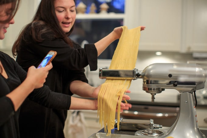 Dinner Party: How to make your own pasta from scratch. Making the noodles.