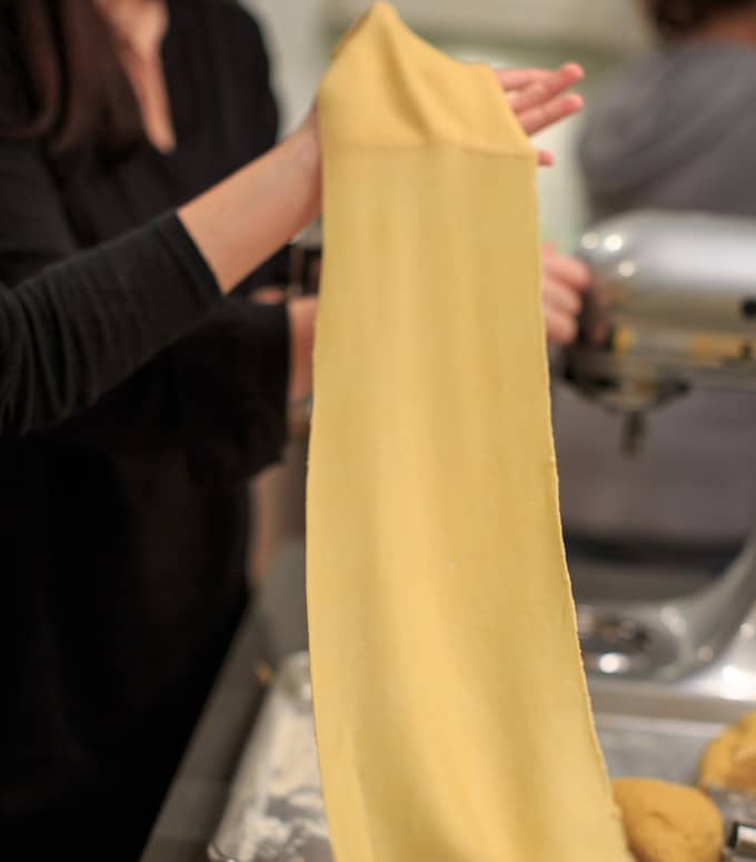 Dinner Party: How to make your own pasta from scratch. Flattened dough.