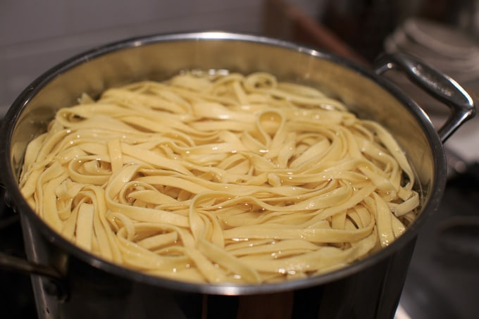 Dinner Party: How to make your own pasta from scratch. Boiling the noodles.