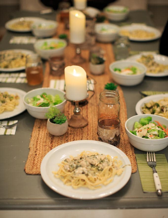Dinner Party: How to make your own pasta from scratch. Dinner tabletop.