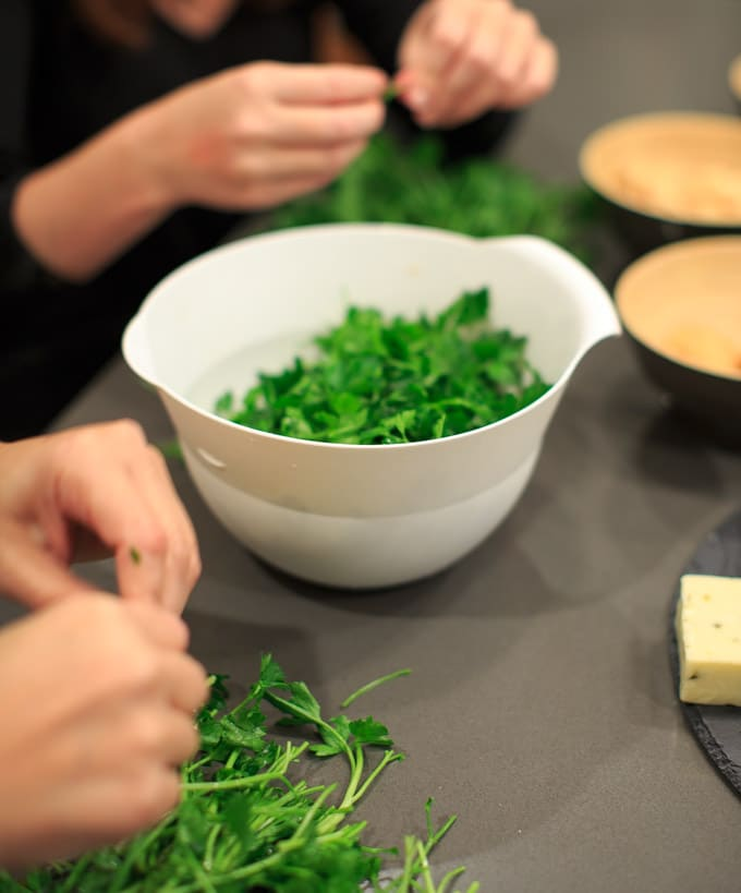 Dinner Party: How to make your own pasta from scratch. Fresh herbs.