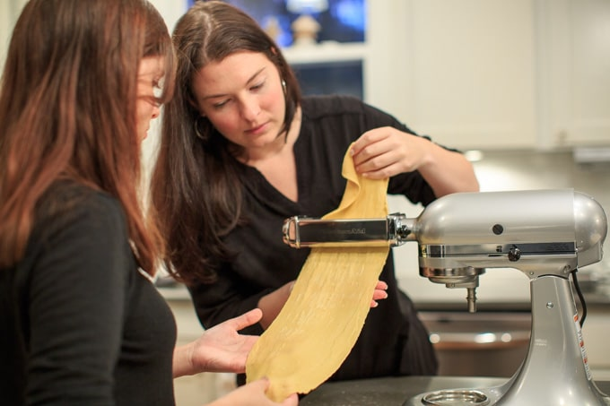Dinner Party: How to make your own pasta from scratch. Flattening the dough.