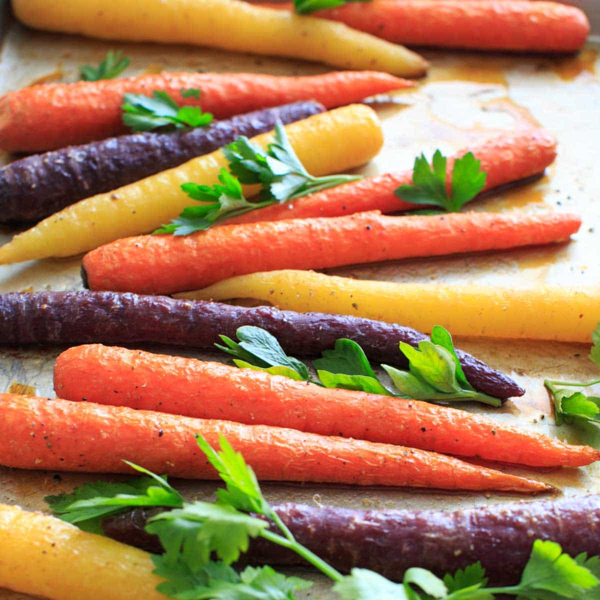 Maple roasted carrots are an easy vegetable side dish that you can throw together for any meal. Vegan and gluten-free, 5 ingredients or less. (Picture is after roasting with fresh parsley, angle shot.)