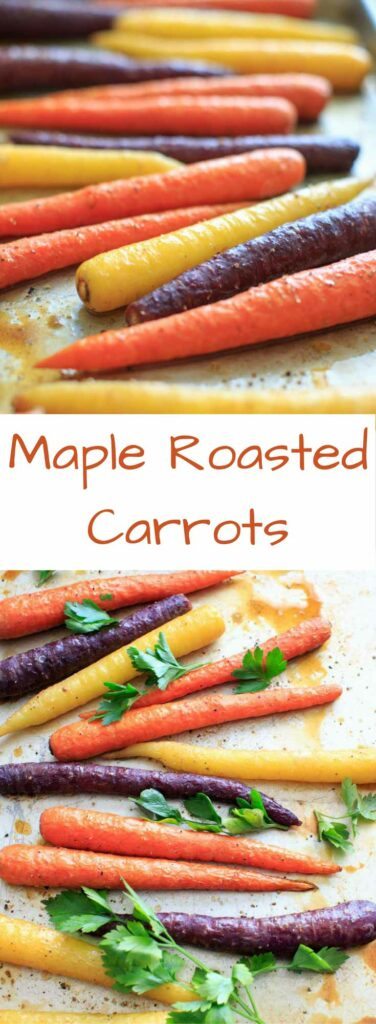 Maple roasted carrots are an easy vegetable side dish that you can throw together for any meal. Vegan and gluten-free, paleo, 5 ingredients or less.