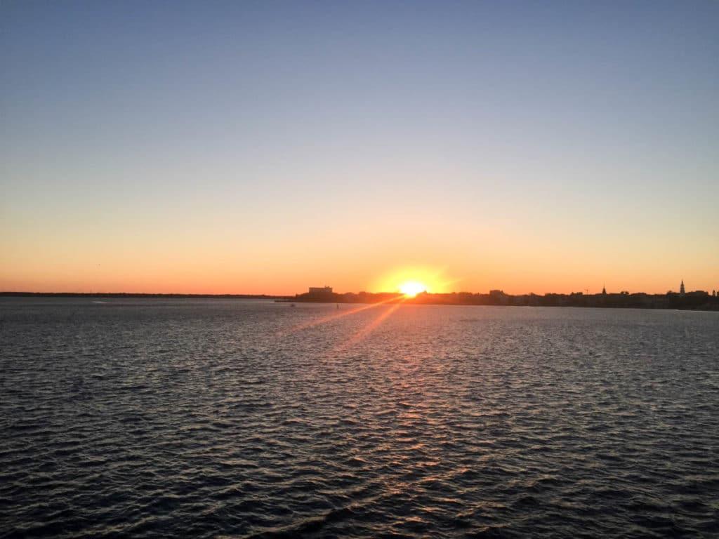 Sunset on Spiritline Dinner Cruise on Charleston Harbor April 2017