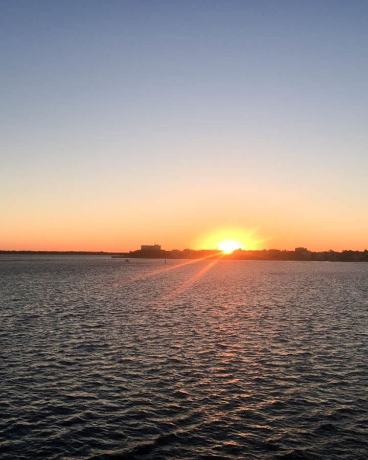 Sunset on Spiritline Dinner Cruise on Charleston Harbor April 2017