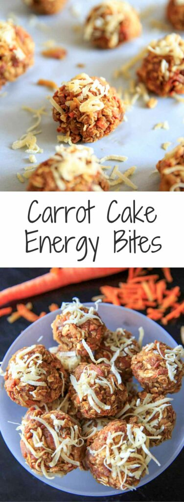 Plant based carrot cake energy bites, vegan and gluten-free. It's a quick and easy snack that's healthy but still tastes like dessert, ready in 10 minutes!
