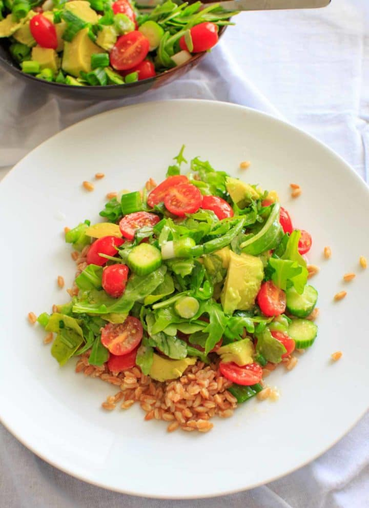 Cucumber Avocado Farro Salad with Miso Vinaigrette Dressing