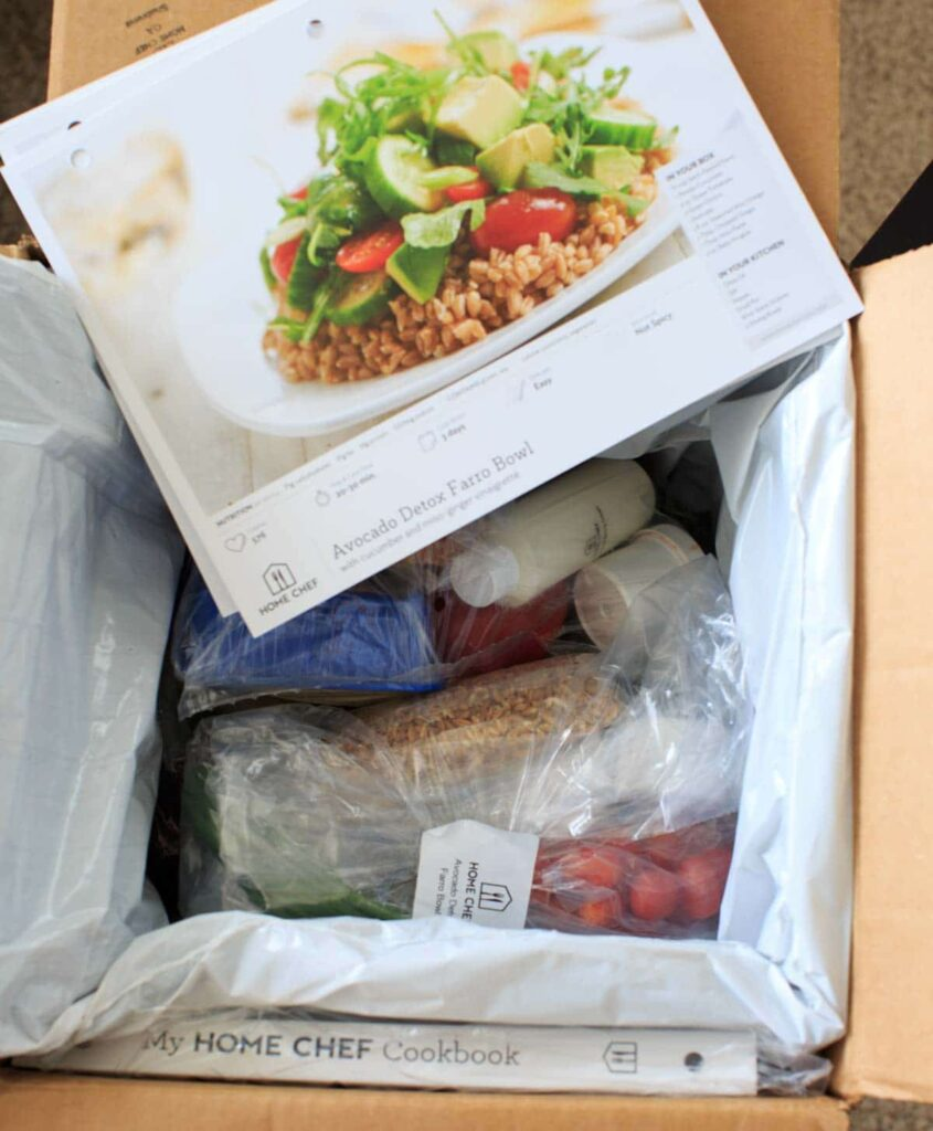 Home Chef Unpaid Review- picture of the delivery box of ingredients and recipes