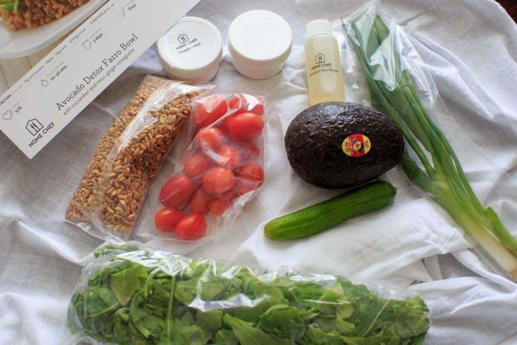 Home Chef Unpaid Review- Avocado detox farro bowl ingredients