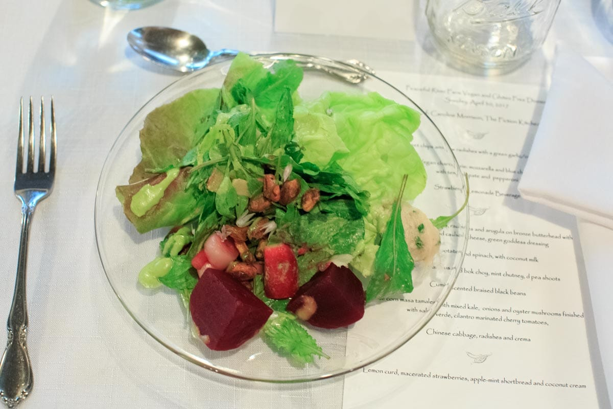 Peaceful River Farm Vegan Dinner by Fiction Kitchen - pickled beet salad with green goddess dressing