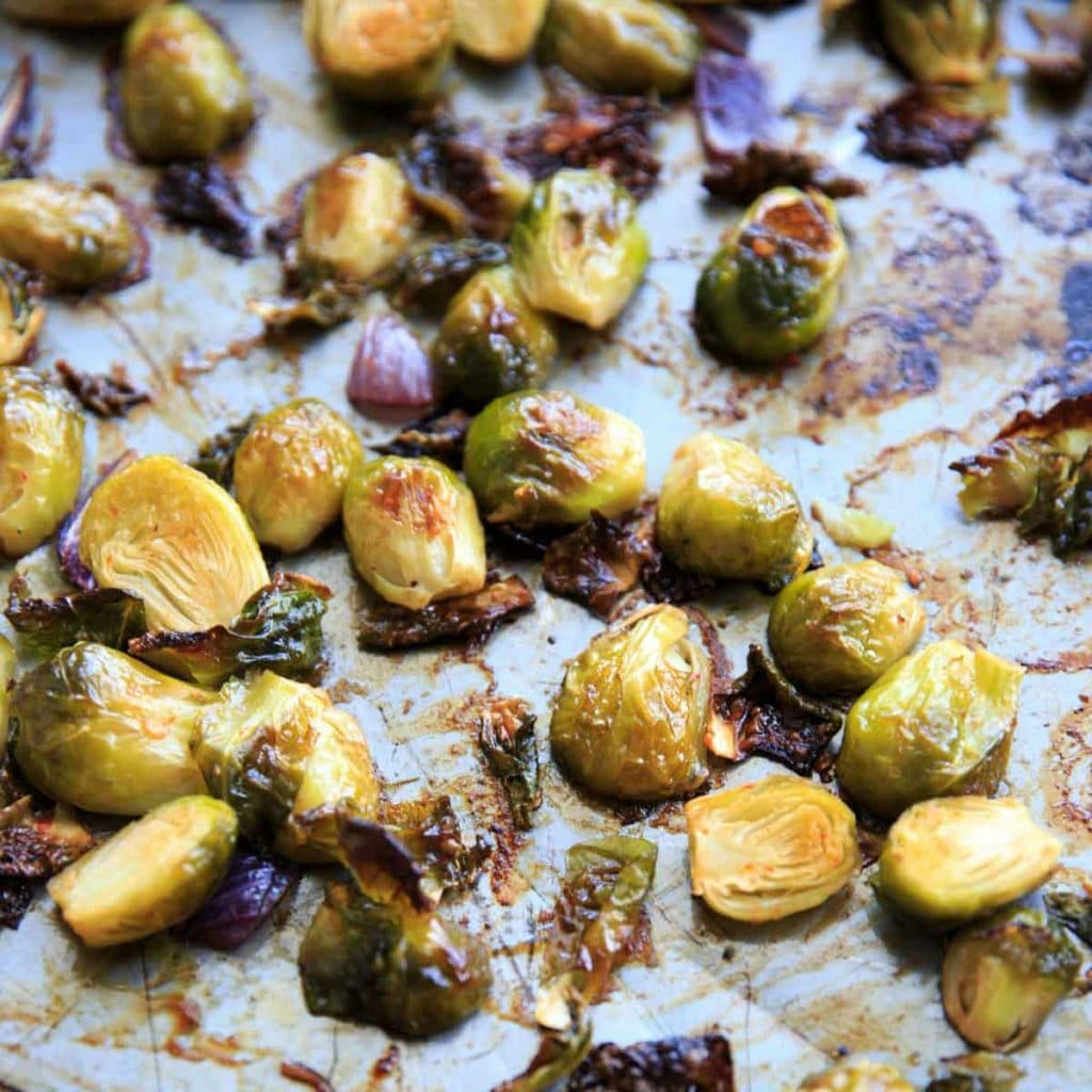 Bang Bang Brussels Sprouts. Easy and spicy side to liven up your veggies. (Pictured is brussels sprouts after roasting.)