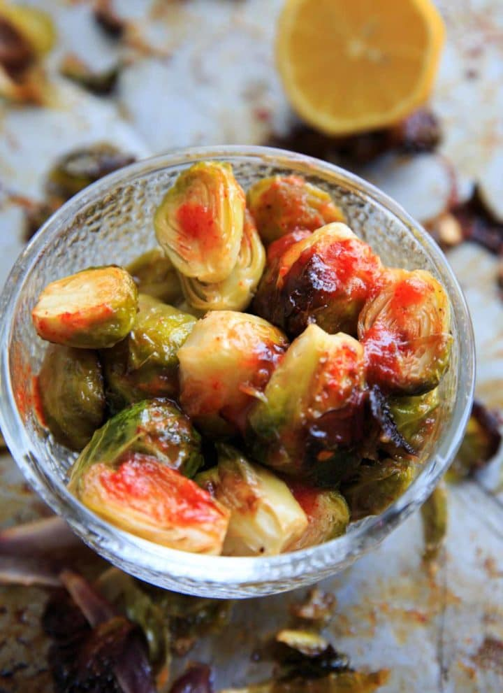 Bang Bang Brussels Sprouts. Easy and spicy side to liven up your veggies.