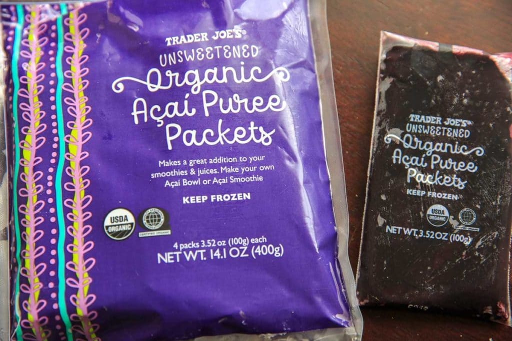 Pineapple Acai Smoothie Bowl or Boat. Picture of Trader Joe's Organic Acai Puree Packets