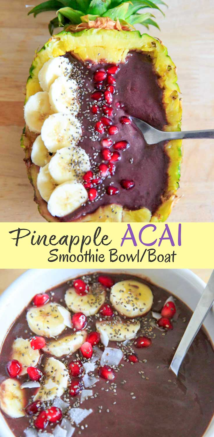 Pineapple Acai Smoothie Bowl or Boat. Lots of tropical fruit vibes and a handful of greens make this smoothie a refreshing treat! Superfoods + optional protein, summer time is closer than ever with this vegan and gluten free snack.
