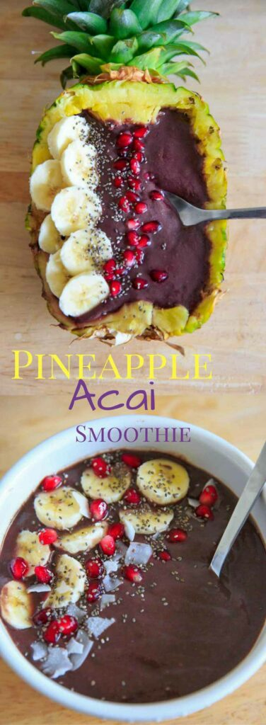 Pineapple Acai Smoothie Bowl or Boat. Lots of tropical fruit vibes and a handful of greens make this smoothie a refreshing treat! Superfoods + optional protein. Vegan + gluten-free.