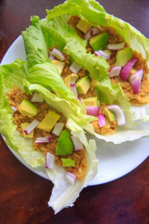 Lentil Lettuce Wraps with Lemon Garlic Hummus
