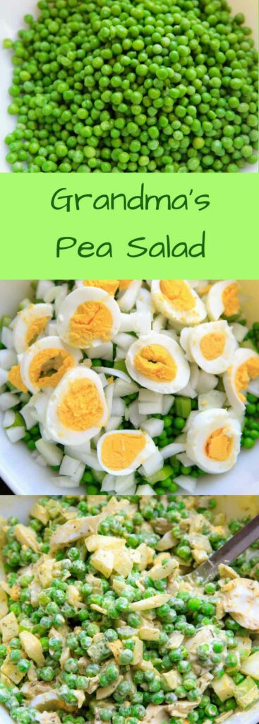 Grandma's Pea Salad with dill - this 6 ingredient, chilled salad is always a hit at potlucks or family gatherings. No need to cook or thaw the peas, but includes hard-boiled eggs. Gluten-free.