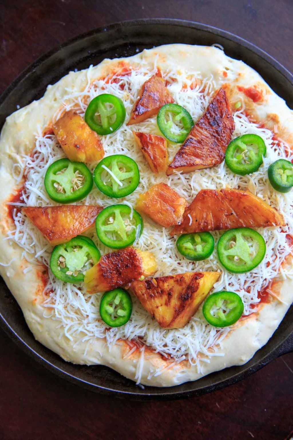 Grilled pineapple and jalapeno pizza, before baking.