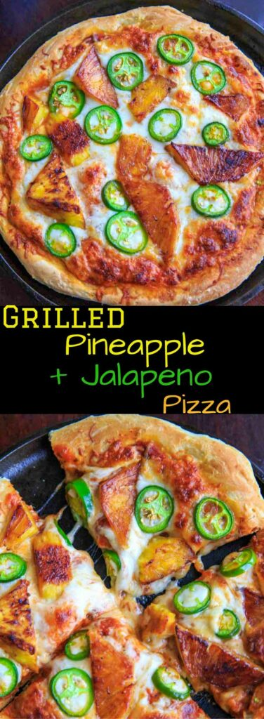 Grilled pineapple and jalapeno pizza. Sweet and spicy combo for people who like pizza with a twist!