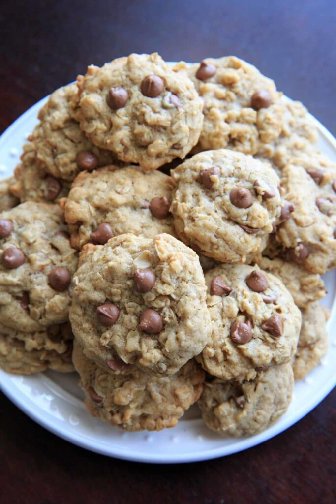 Lactation cookies with chocolate chips, oats, brewers yeast and flax meal piled on a plate