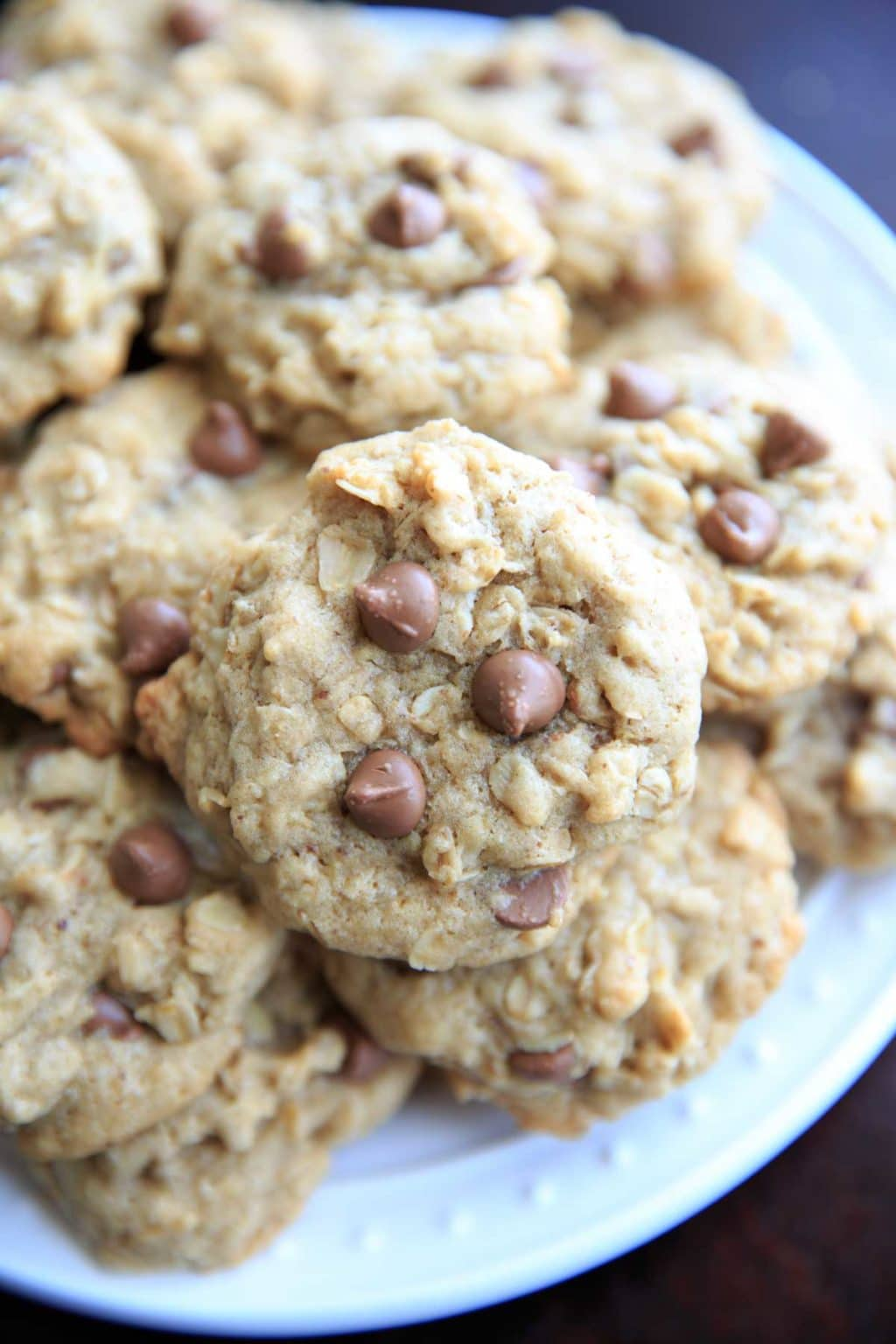 Lactation cookies with chocolate chips, oats, brewers yeast and flax meal.