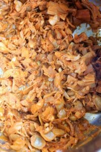 Pulled BBQ Jackfruit - cooking, after pulling