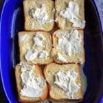 Summer Berry Stuffed French Toast Casserole Bake. Adding the cream cheese.
