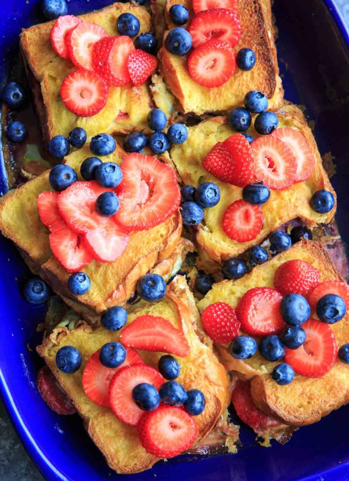 Summer Berry Stuffed French Toast Casserole Bake