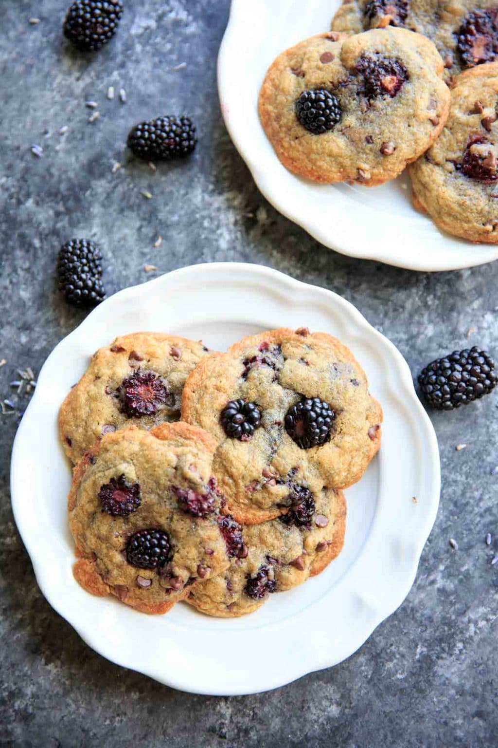 Blackberry Lavender Chocolate Chip Cookies - a unique twist on the classic with some fruit and dried lavender. Perfect dessert in summertime!