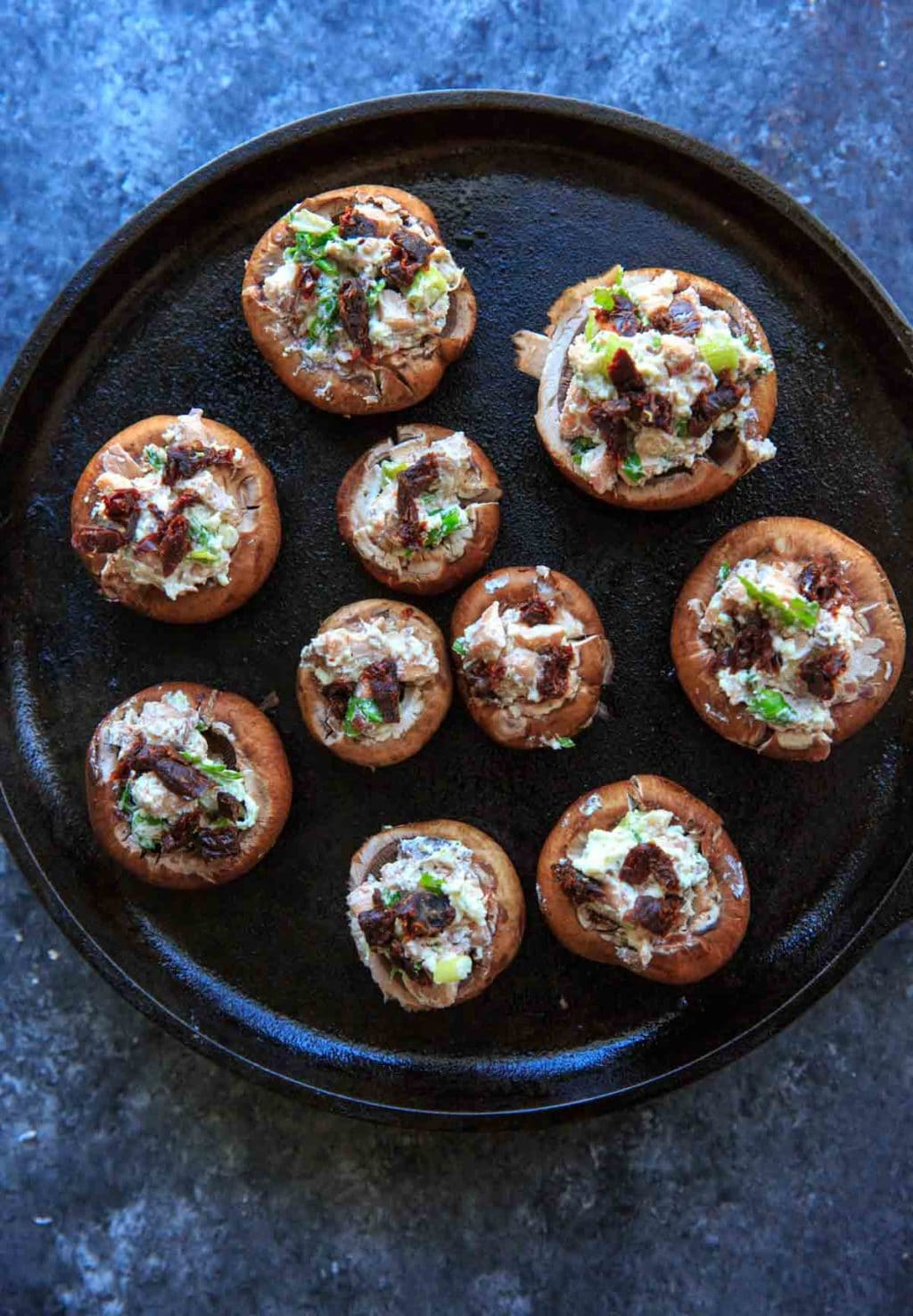 Chevre Stuffed Mushrooms with Sun-dried Tomatoes - stuffed mushrooms before baking