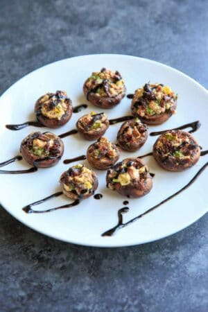 Chevre Stuffed Mushrooms with Sun-dried Tomatoes