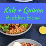 A customizable vegan friendly and gluten-free kale and quinoa buddha bowl. With tomato, avocado, black beans, corn, and more!