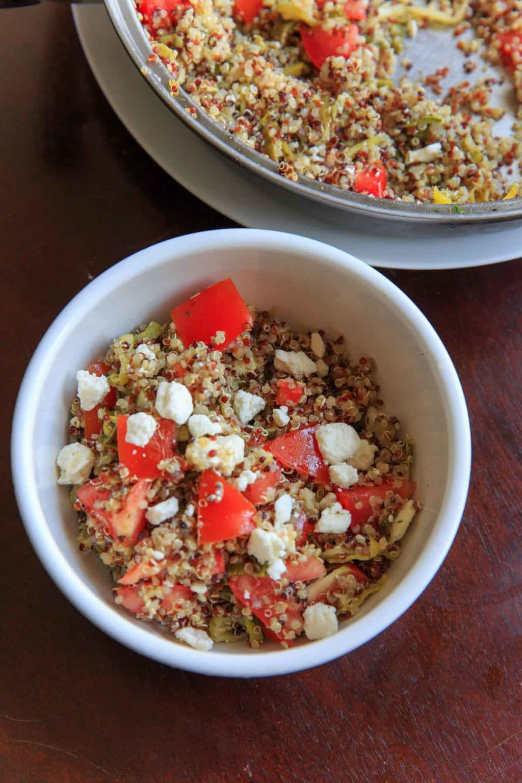 Spiralized Zucchini Quinoa Tomato Salad. Eat as a side or a meal, cold or hot! Healthy, vegetarian, delicious.
