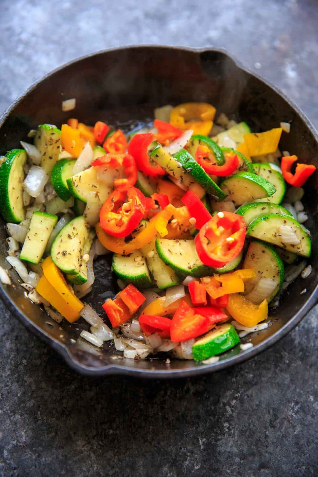 Sauteed vegetables with zucchini, onion, mini sweet peppers